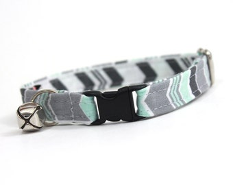 Mint Green and Grey Chevron Stripe Cat Collar