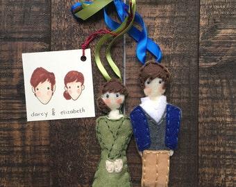 Jane Austen Couple Felt Ornaments Set (**includes 1 couple of your choice)