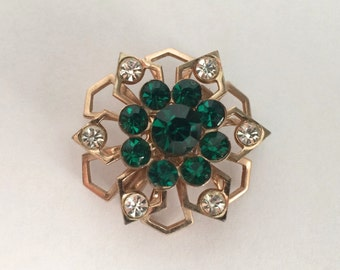 Vintage 1960s Emerald Green and Clear Rhinestone Brooch, Pin