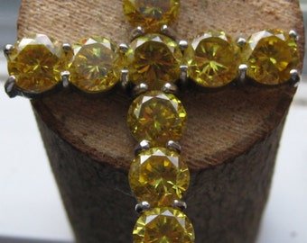 LARGE Vintage Sterling Silver and Yellow Faceted Citrine Women's Cross Pendant Ladies Old World Style