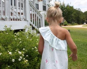 Girls flamingo seersucker one shoulder dress with monogram
