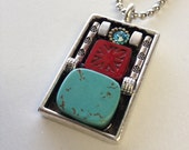 Turquoise Gem Stone One - of - a Kind Silver and Copper Necklace