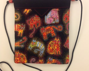 Laurel Burch Cats Quilted Fabric Snap Bag Purse Handbag Handmade 7 x 8-1/2