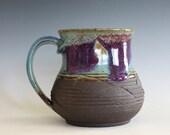Pottery Mug, 18 oz, unique coffee mug, handmade ceramic cup, handthrown mug, stoneware mug, wheel thrown pottery mug, ceramics