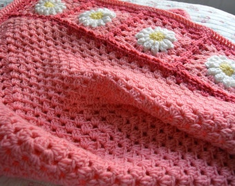 READY TO SHIP Bubblegum Pink Daisy Flower Patchwork Granny Square Afghan Blanket Baby Shower Gift