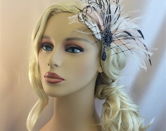 Bridal Fascinator, Wedding Head Piece, Feather Fascinator, Bridal Hair Accessory, Black Ivory Blush