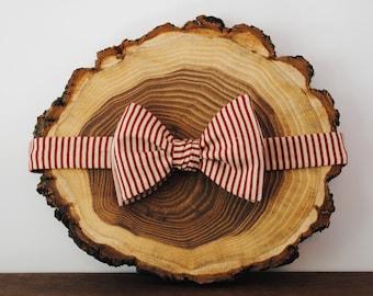 Red & Cream Striped Self-Tie Bow Tie | Mens Bow Tie | Wedding Tie | Groomsmen Bow Tie | Groom Bow Tie | Freestyle Bow Tie | Kids Bow Tie