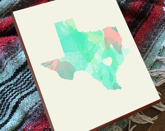 Austin Texas - Austin Map - Austin Art - Austin TX - Wood Block Wall Art Print