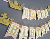 Silver and Gold Princess Birthday Banner - Princess Birthday Decoration - Princess Crown Banner - Tiara Banner - Gold Glitter