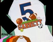 Big Number ALL SPORTS Birthday shirt boy or girl T-shirt sports shirt - soccer shirt Personalized name football basketball baseball soccer