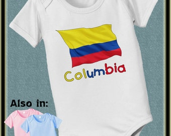 Columbian Flag baby infant  Bodysuit heritage Columbia Nationality flag baby bodysuit, baby shower gift