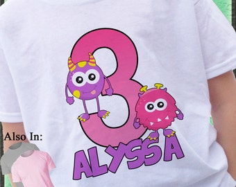 Little Monster Shirt - Monster Big Number Birthday Shirt - Little Monster Personalized with Name - Monster Birthday Shirt - Birthday party