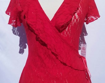 Red  Ruffle  Lace Wrap  Top