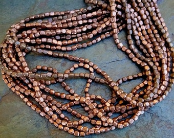 Rounded Cube, African Brass Trade Beads, 3x2mm, Shiny Antiqued Copper, 25 Inch Strand, Priced per Strand