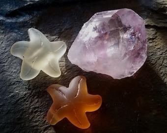 Starfish, Sea Glass, Small, 20x7mm, Lemon Yellow, Desert Gold, Priced per Piece