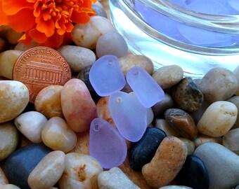 Sea Glass Pendant, Freeform Flat Pendants, 10 to 15mm, Periwinkle, Bundles of 6