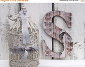 Fourth of July SALE Large Letter S / Shabby Chic  Wall Letter / Nursery Wall Letter /Butterflies / Wood Wall Letter / Alphabet Letter