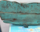 Whale Sign Beach House Decor Turquoise One of a Kind Weathered Wood Whale by CastawaysHall - Ready to Ship