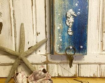 Key Holder Hook Rack Seahorse Vertical Sea Blue Art Block Wall Decor by CastawaysHall- Ready to Ship