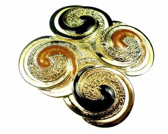 Belt buckles, black and orange vintage enameled gold tone metal