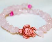 Rose Quartz memory wire bracelet with howlite turtle bead, hippie, meditation, peace, music festivals, gemstones