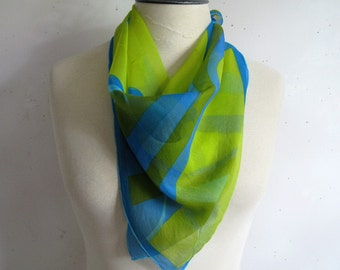 Vintage Chiffon 1970s Scarf Vera Vera Neumann Green Blue Wave Print Sheer 70s Signed Square Scarf