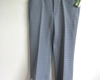Clearance Vintage 1970s Mens Pants Deadstock Baycrest Blue Check Poly Knit Pants 29