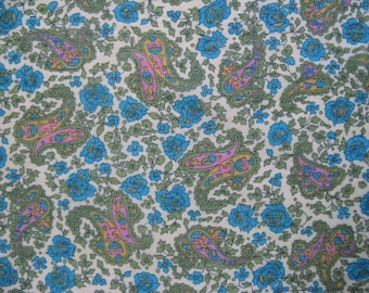 Vintage 1960s Scarf 60sGreen Blue Pink Floral Paisley Womens Square Kerchief
