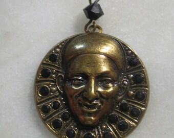 Vintage French Pendant: Fortune Teller/Conjurer/Jester/Harlequin, Quality Brass Pendant w/ Black Glass Rhinestone, 27mm, Made in France, 1pc