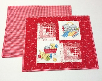 Quilted Placemats, Fabric Placemats, Quilted Place Mats, Puppy Kitty Placemats,  Retro Vintage Style, Puppies, Kitties, Red and White