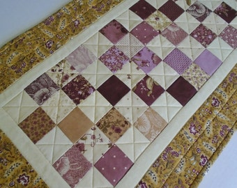 Quilted Table Runner, Quilted Table Topper, Coffee Table Runner, Table Quilt,  Reproduction Prints, Patchwork Runner, Gold and Plum