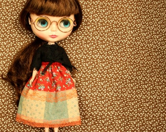 ONE MOMENTO Vintage Inspired Patchwork Skirt for Neo Blythe