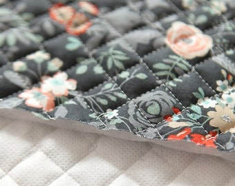 Quilted Floral Cotton By the yard (width 44 inches) 79767  Black