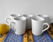 Vintage White Ironstone or Restaurant Ware Coffee Cups or Mugs. Homer Laughlin China. Diner or Restaurant China. French Country Chic.