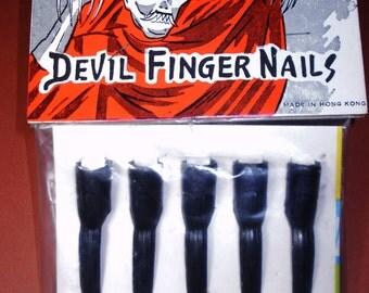 Vintage 1960s Halloween DEVIL FINGERNAILS  'Finger Nails' in Original Package Halloween Costume Decor Collectible