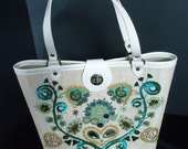 RESERVED Sequin Beaded Floral Vintage 1960's Bucket Bottom Purse Handbag