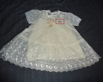 Sheer Ivory Flocked & Embroidery Vintage 1950's NWT Baby Girls Dress
