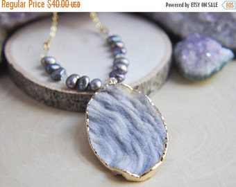 SALE Druzy Necklace, Pearl Necklace, Druzy Pearl Necklace, June Necklace, Birthstone Jewelry, Druzy Stone Necklace, Statement Necklace, Boho