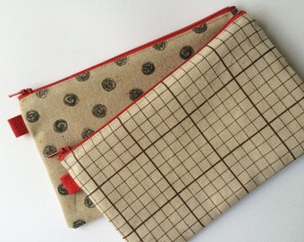 Two Fabric Pouches. Polka Dot Doodles and Graph Paper Prints. Makeup pouch, Pencil case.