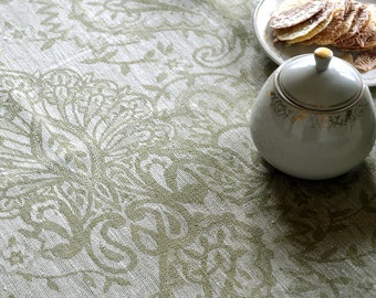 Linen Tablecloth, Natural With Olive Green Tablecloth, With  Borders Tablecloth, Damask Tablecloth, Tablecloth For Special Occasions