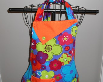 Lime Green, Burgundy, Blue and Purple Flowers Women's Apron