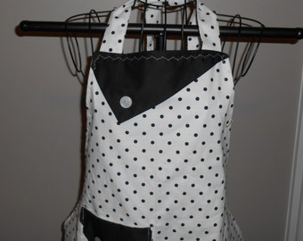 Black and Cream Polka Dot Women's Apron