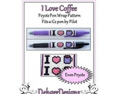 Bead Pattern Peyote(Pen Wrap/Cover)-I Love Coffee