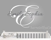 Name and Initial wall decal - wall decals nursery - damask decal - baby girl nursery name - baby girl decal - monogram BN039