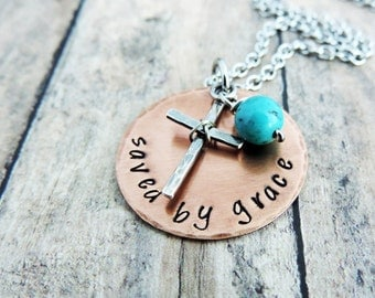 Saved by Grace Necklace - Christian Jewelry - Cross Necklace - Bible Verse Jewelry - Inspirational Gift - Ephesians 2:8