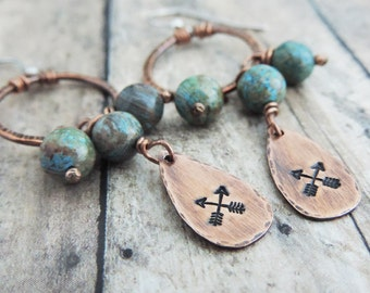 Crossed Arrow Earrings - Rustic Tribal Earrings - Stamped Jewelry - Blue Beaded Earrings