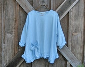 linen blouse top  in light baby blue ready to ship
