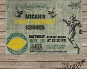 Vintage Classic Football Birthday Invitation (or any event) - DIY Printing or Professional Prints