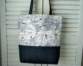 Tote Bag / Shoulder Bag / Market Bag / Travel Bag / Navy and White Aviation Canvas /Denim /Weekender Bag / Work Tote / Everyday Bag