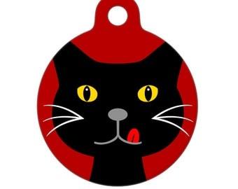 Pet ID Tag - Hungry Black Cat - Pet Tag - Dog Tag - Cat Tag - Luggage Tag - Child Id Tag